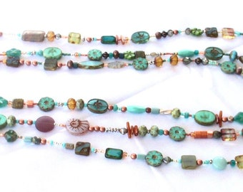 Czech Glass Turquoise Blue Green Copper Silver Bead Soup Long Necklace