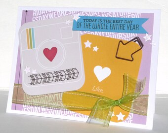 Social Media Happy Birthday Greeting Card - Handmade Paper Card with Coordinating Embellished Envelope