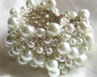 PURE  WHITE Pearl Cuff Bracelet, Modern Bridal Wedding Statement,  Unique Hand Knit  Exclusive, Sereba Designs