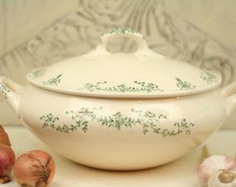 Rare antique Longchamp RCsoup tureen 1900 - Ironstone soup tureen - Robert Charbonnier - French Ironstone - Vintage soup tureen