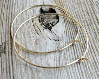 Gold Hoop Earrings Simple Minimalist 14kt Gold Filled Wire Handcrafted Hand Formed Modern Everyday Fashion Hoops Delicate Lightweight
