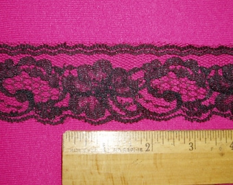 Black Lace Wide Flat 5-25 yd Chantilly Net Scalloped Edge Trim for Altered Couture Cuffs, Wedding Lingerie Costume Sewing Wide Black Lace