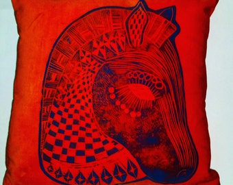 Horse head retro mid century inspired cushion/pillow handmade and handprinted using intricately cut lino block designs