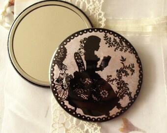 Pocket Mirror - illustrated mirror- book lover - victorian - romantic - Miss Shadow - Book