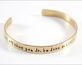 Custom Gold Cuff Bracelet | Mantra Bracelet, Inspiration Bracelet, Corinthians Quote Jewelry, Hand Stamped Bracelet, Gift for Her
