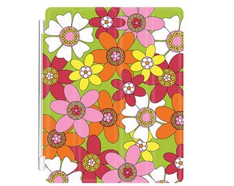 Retro Flower Power Design Apple iPad 2, 3, 4 Compatible Magnetic Rail Smart Cover Folding Stand