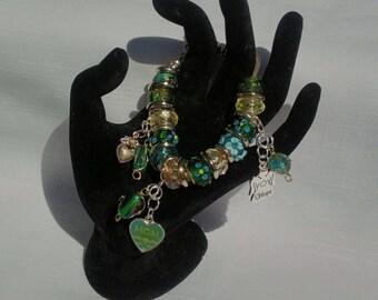 Chartreuse and Emerald European Beaded Bracelet, Murano Lampwork Beads, Mom Angel Charm, Boho Jewelry, Shabby Chic Jewelry, ST Patrick's Day