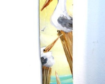 Original  Painting - Pelicans -Beach Decor -Wall Hanging- Art for Small spaces