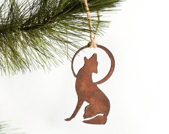 Coyote Metal Ornament / by WATTO Distinctive Metal Wear/Coyote and Moon/Howling Coyote /Christmas Gift/Christmas Ornament/Southwest Ornament