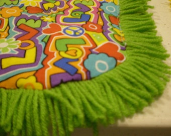 Catnip Crinkle Mat Toy Bed w Lime Fringe  Peace Love          for cats and ferrets Recycled