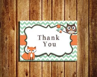 Woodland themed Thank You Notes - Thank You Card - Digital - Printable -