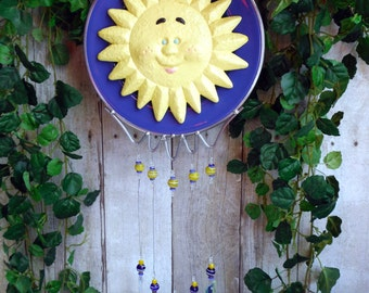 Sunface Windchime Or Wall Hanging, with Stained Glass Chimes