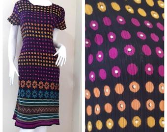70s Vintage Indian India Cotton Gypsy Gauze Festival Hippie Midi Dress Size Small - Medium