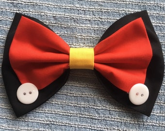 Mickey Mouse inspired handmade hair bow
