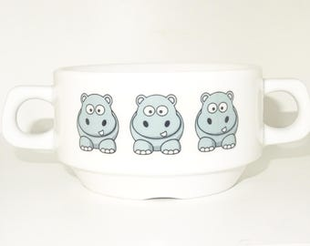 Soup Bowl, 1 pcs, hippo soup bowl small baby child kids , Bottom, hidden message, secret message, Soup Bowl, porcelain