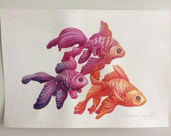 Ink Goldfish Trio