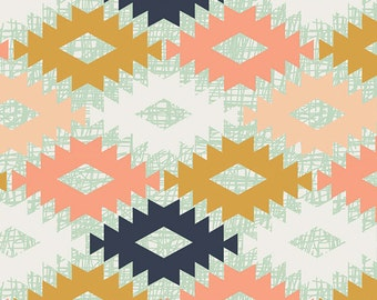 Half Yard, Agave Field, Arizona, April Rhodes, Art Gallery Fabrics, Quilting Cotton Fabric, Aztec, Tribal, Coral, Navy, Mustard, Mint, White