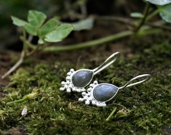 Sterling Silver Labradorite Drop Earrings With Bubble Detail