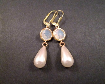 Gemstone and Pearl Drop Earrings, White Chalcedony Bezels and Faux Pearls, Gold Dangle Earrings, FREE Shipping U.S.