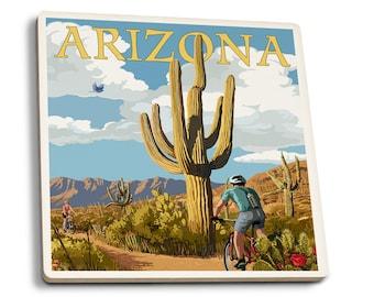 Arizona - Saguaro & Roadrunner - LP Artwork (Set of 4 Ceramic Coasters)