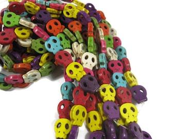 16mm Multi Colored Howlite Skull Beads set of 8