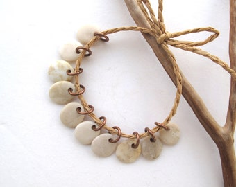 Rock Charms Beach Stone Beads Small Pebble Beads Jewelry Findings Mediterranean River Rock Beads Pairs Copper CREME CHARMS 12-13 mm