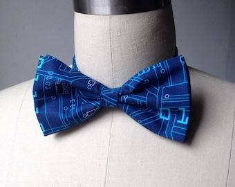 Men Blue Circuit Board Bow tie, binary code, for him, gift for him, Mens bowtie
