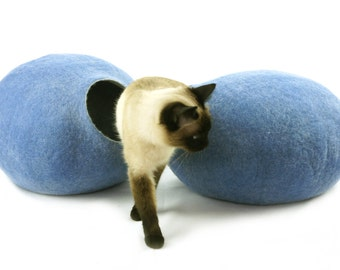 Cat bed, house, cave. Size S (Small). Natural felted sheep wool. Color sky blue. Made by kivikis.
