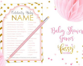 Celebrity Baby Name Game, Baby Shower Games Printable, Baby Name Race Game, Instant Download, Baby Shower Girl Game, Pink and Gold