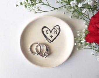 Ring dish, Ring holder, Engagement gift, Wedding Gift, bridal shower gift, gift for couple, Bridesmaid Gift, Wedding Ring Holder, White dish