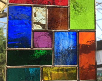 Stained Glass Panel Multi Coloured Abstract Stained Glass Suncatcher Glass Art - CRhodesGlassArt