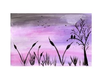 Silhouette night sky, sunset print, digital art, watercolour print, A4 print digital print