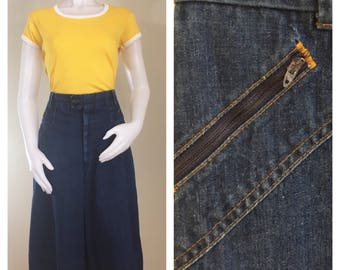 70s Miss h.i.s. Denim A-Line Culottes / Pants / Shorts, Size Large to XL