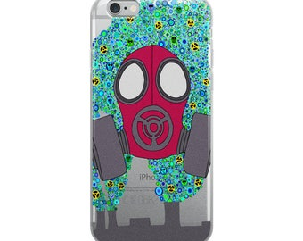 Maroon Gas Mask zombie outbreak iPhone Case