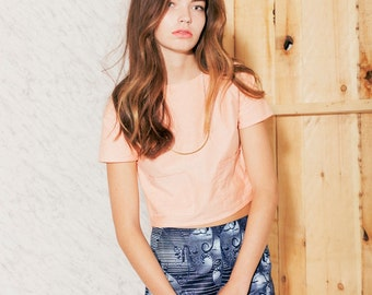 T-shirt court en ((ON SALE) coton chambray orange)
