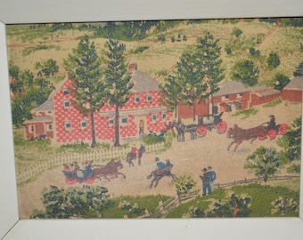 Grandma Moses / art / painted on cloth / framed / village scenes / red / green / brown / red house / village life / horse and carriage