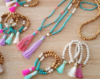 N622 - Long Tassel Necklace - Turquoise Beads and Pink Tassel - Long Beaded Tassel Necklace - Boho Jewelry - Claribella