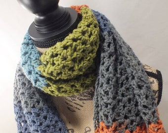 Crochet Scarf - Spring Gift - Accessories for Her- Blue Orange Green - Mother's Day Gift for Her - Green Knit Scarf- Blue Scarf Ready 2 Ship