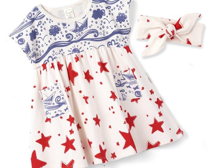 STAR SALE! Baby Girl 4th July Dress, Baby Girl Red Blue Summer Dress, Infant Girl Dress, Red Stars, Blue Trim, Newborn Girl Summer, TesaBabe