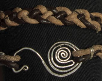 Sterling Silver 930 Spiral with 4-Strand Leather Braid Bracelet