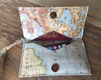 Atlas Phone Wristlet, travel wallet, money, phone case, passport holder,