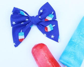 Rocket Pop Hand Tied Hair Bow // 4th of July Hair Bows // Nylon Headband or Clips // Popsicle Bow // Girls Hair Bow