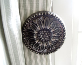 Antique Metal Sunflower Curtain Hold Backs, Pewter Tie Backs, Drapery Hardware, Curtain Holdback