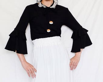 Lost in Kyoto Collection black top with layered fan sleeves
