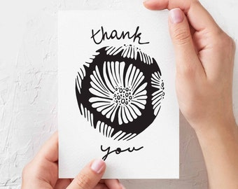 Thank You - Illustrated Greeting Card - Floral decor