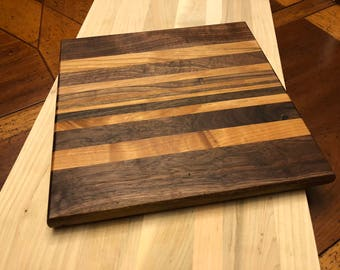 "Reclaimed Wood Cutting Board 10 1/2"" x 10 1/2"" x 3/4""  Walnut and Oak"