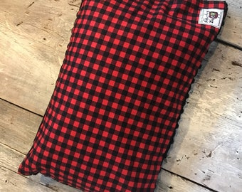 Baby buckwheat scales pillow, red and black checkers, black minky on the back side