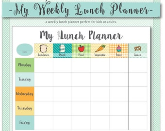 My Weekly Lunch Planner // a weekly menu planner for kids or adults