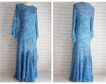 80s Blue Animal Print Vintage Dress. Small size party Dress 80s.