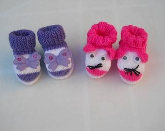 set of 2 pairs of newborn baby booties